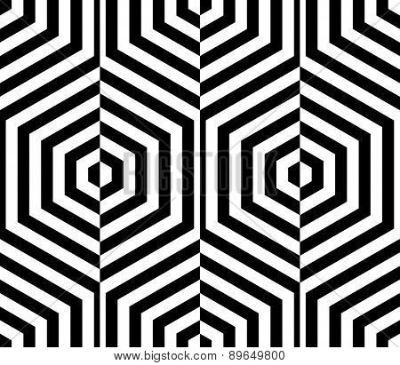 Seamless Hexagon Pattern. Vector Monochrome Background