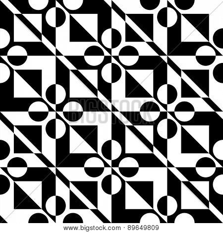 Seamless Square Pattern. Abstract Black and White Background