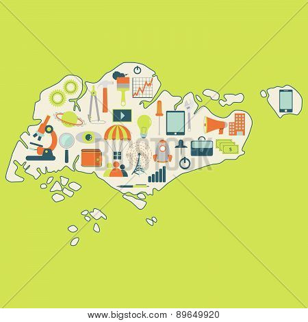 Map Of Singapore With Technology Icons