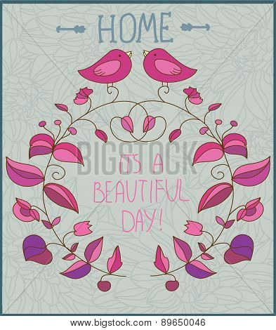 decorative background with flowers and birds and the inscription day,