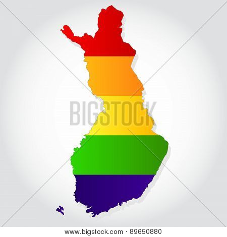 Rainbow Flag In Contour Of Finland