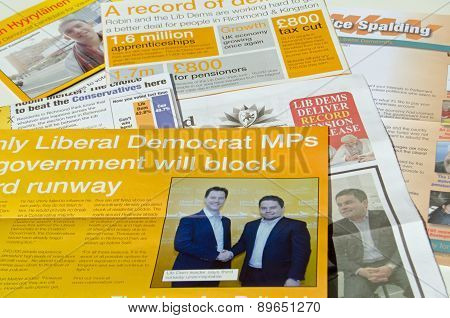 Liberal Democrat Party campaign leaflets