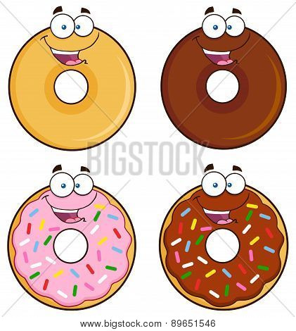 Four Cute Donuts Cartoon Character 1. Collection