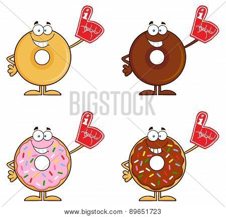 Four Cute Donuts Cartoon Character 7. Collection Set