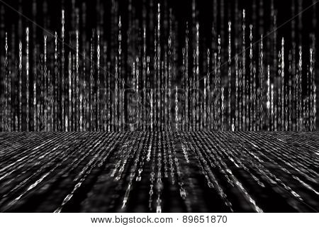 Digital Abstract Background, Black And White Matrix