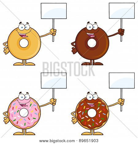Four Cute Donuts Cartoon Character 14. Collection Set
