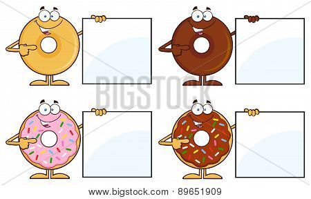 Four Cute Donuts Cartoon Character 15. Collection Set