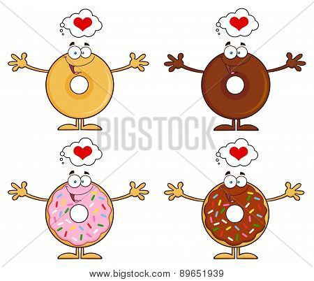 Four Cute Donuts Cartoon Character 17. Collection Set