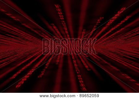 Red Matrix Background, With Motion Blur, Isolated On Black Background, Perspective