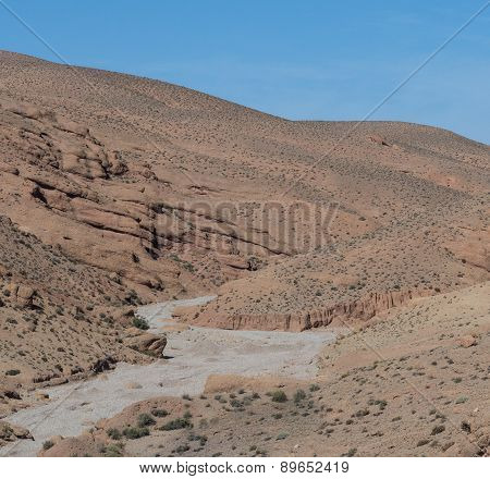 The Dried River In Gorges Du Dades City, Morocco Of Gorges Du Dades Valley, Morocco