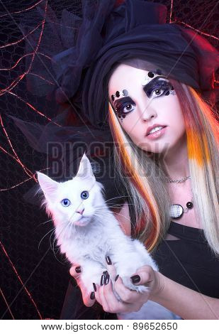 Young lady with cat.