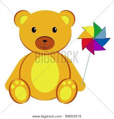 Teddy Bear With Pinwheel