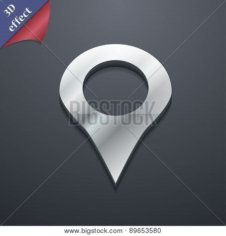 Map Pointer, Gps Location Icon Symbol. 3D Style. Trendy, Modern Design With Space For Your Text Vect