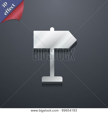 Signpost Icon Symbol. 3D Style. Trendy, Modern Design With Space For Your Text Vector