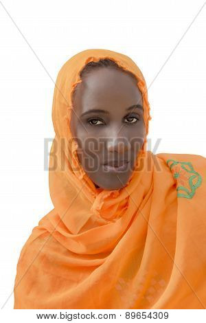 African woman wearing a cotton veil, isolated
