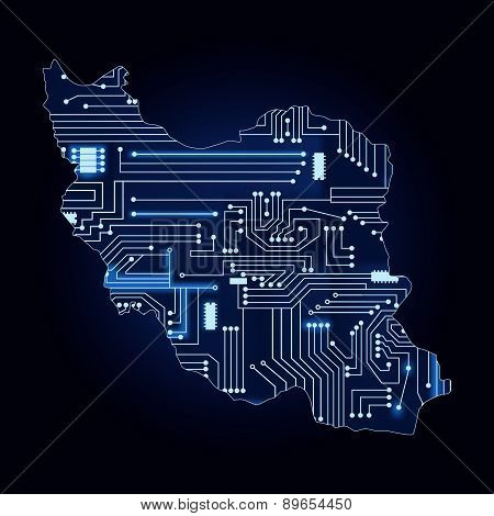 Map Of Iran With Electronic Circuit