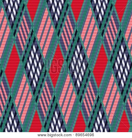 Tartan Seamless Rhombus Texture Red And Blue
