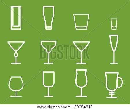 Beverage vector thin line symbol icon. Cocktails. Party outline elements isolated on green backgroun