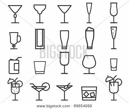 Beverage, drinks vector thin line symbol icon. Cocktails. Party outline elements isolated on white b