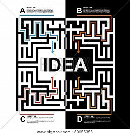 Labyrinth Infographic Design Modern Style Concept. Vector Illustration.