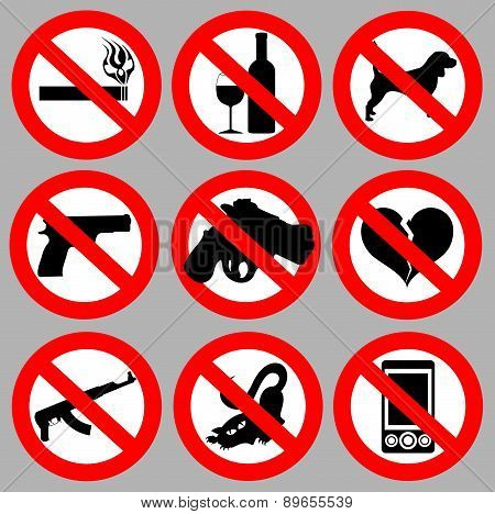 set prohibitive signs