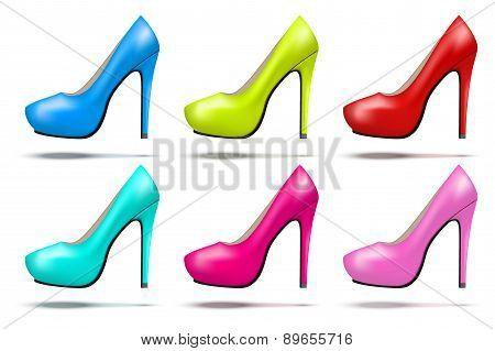 Bright modern high heels pump woman shoes