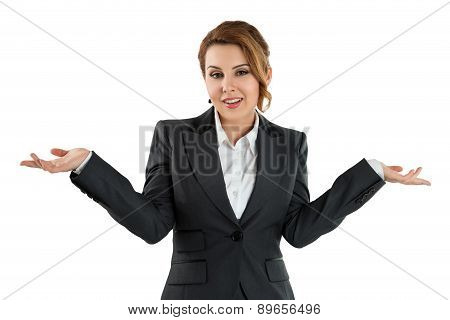 Pretty Business Woman Isolated On White