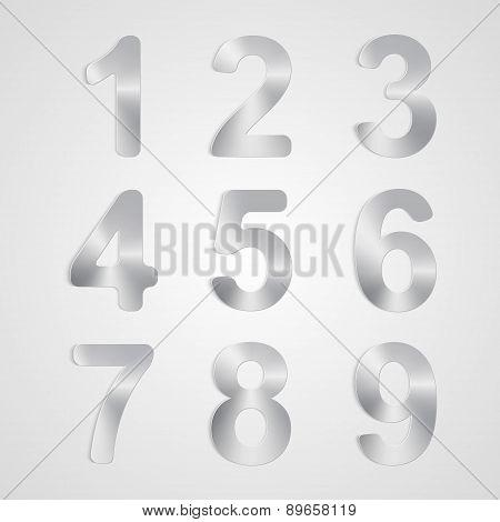 Vector Metal Number Set.