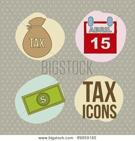 Tax Icons Over  Brown Background Vector Illustration