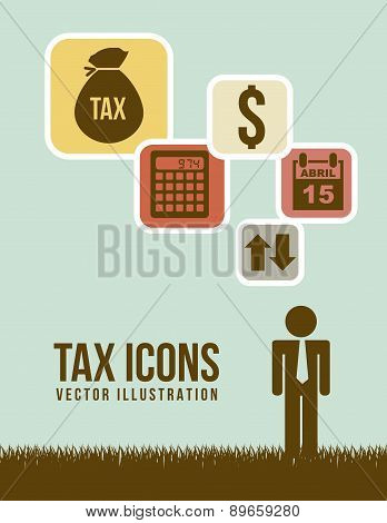 Tax Sign Over Green Background Vector Illustration