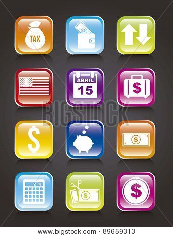 Tax Icons Over Black Background Vector Illustration