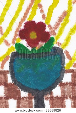 Small Flower In The Vase On The Table With Checkered Cloth (original Child Picture)