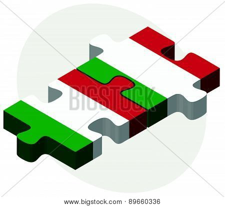 Italy And Italy Flags In Puzzle