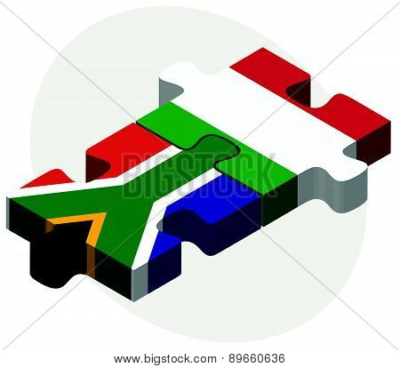 South Africa And Italy Flags In Puzzle