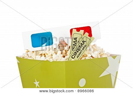 Popcorn Bucket, Two Tickets And 3D Glasses