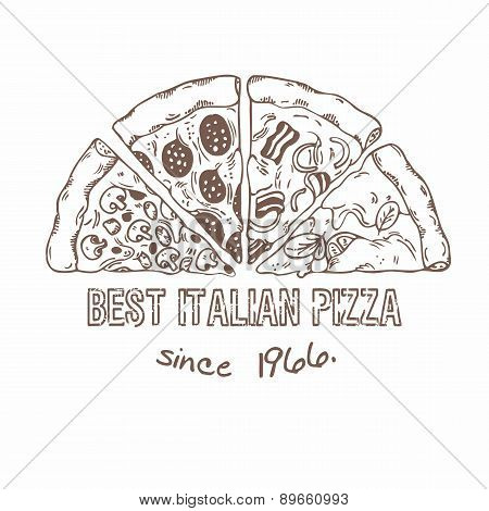 Half of pizza with different slices. Sketched vector illustration