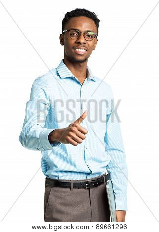 Happy African American College Student With Laptop And Thumb Up
