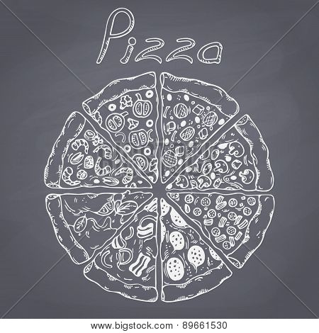 Set of different slices of pizza in vector. Chalk style illustration on chalkboard