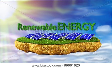 solar panels renewable energy concept