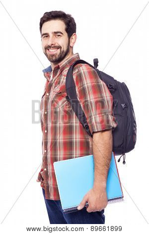 Portrait of a handsome smiling student, isolated on white background