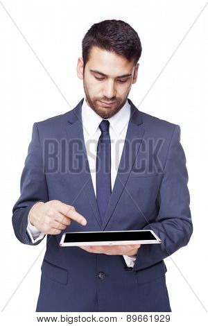 Business man working with tablet pc, isolated on white background