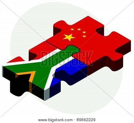South Africa And China Flags In Puzzle