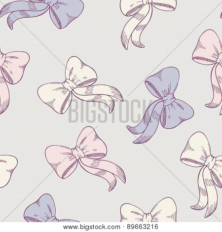 Seamless pattern with sketched bows in pastel colors