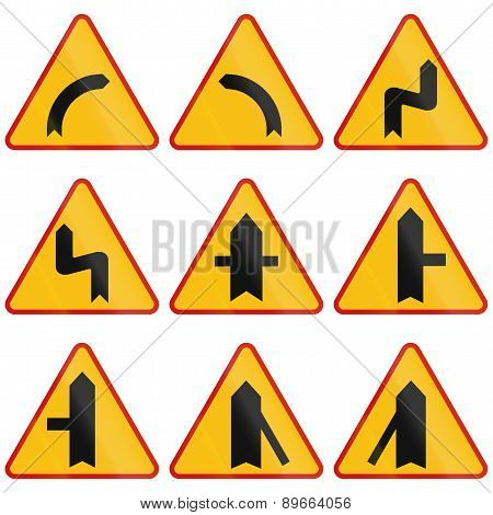 Curve Warning Signs In Poland