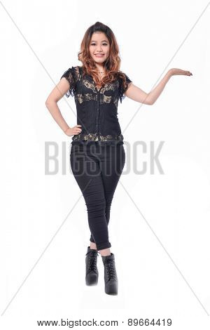Full body model presenting showcasing with hand
