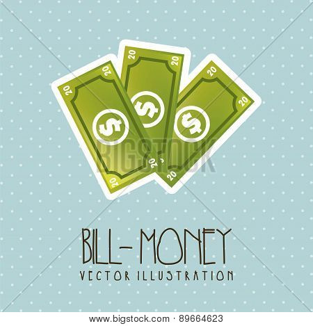 Bills Cartoon Over Blue Background Vector Illustration