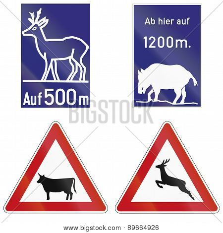 Wild Animals Crossing Signs In Germany