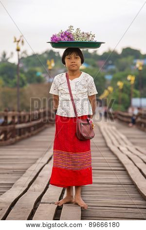 Sangklaburi , Thailand - January 11, 2015: Unidentified young asian Girl with powder on face of this