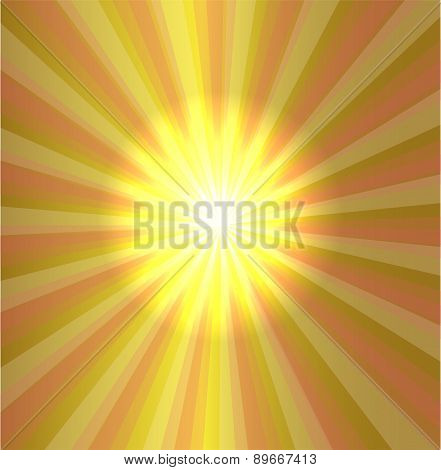 Burst stars light descending on yellow background