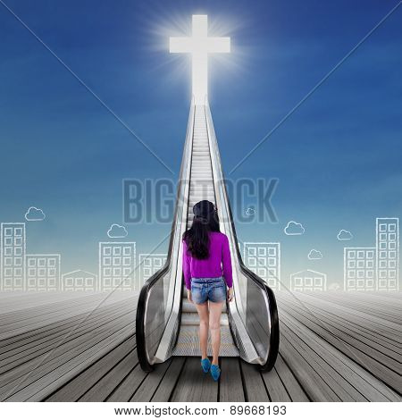 Girl Looking At A Stair To The Heaven